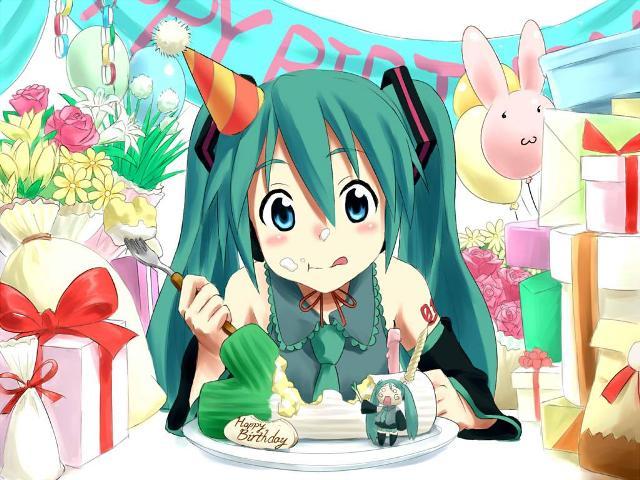 Miku compleaños comiendo pastel